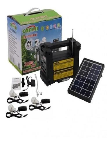 Imagen 1 de 2 de Kit Solar Portátil+panel Solar+3 Focos+radio Fm+reprod Usb