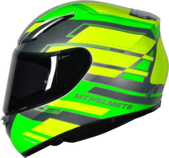 Capacete Motociclista Mt Revenge Zusa Verde Fluor Sharp 5