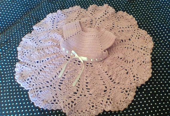 Vestido De Bebe Tejido A Crochet Color Rosa