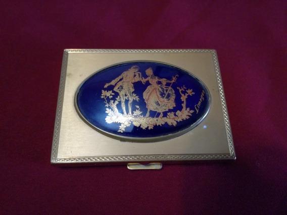 Antigua Polvera Francesa Porcelana Limoges Bronce Y Espejo