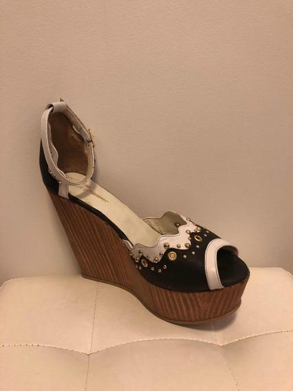 Zapato Con Plataforma Blanco Y Negro