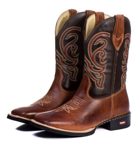 Bota Texana Masculina Cano Longo Bico Quadrado Country Couro