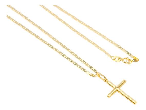 Corrente Piastrine 60cm Ouro 18k+ Pingente Crucifixo Ouro18k