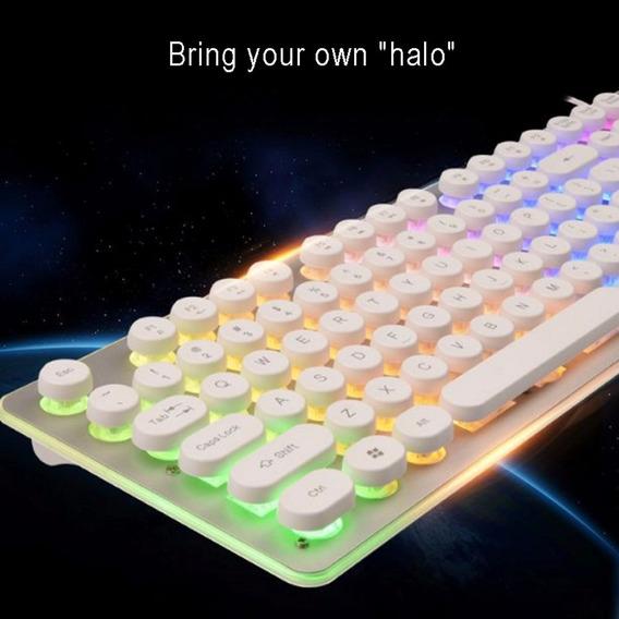 Teclado Gamer Com Bot?es Redondos Luzes Coloridas Branco