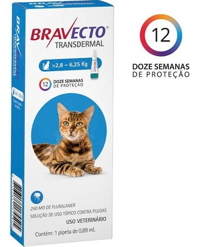 Bravecto Transdermal Gatos 2,8kg - 6,25kg