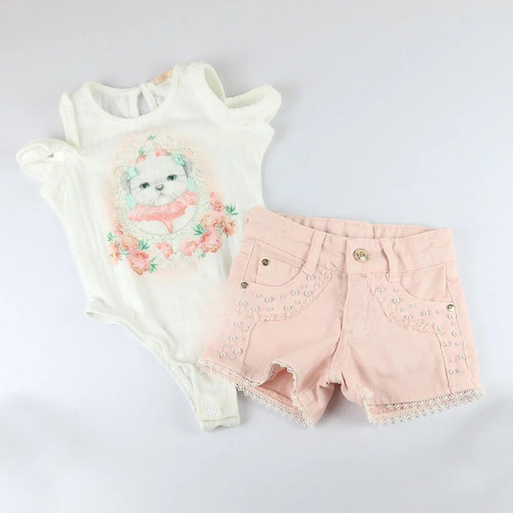 Conjunto Body E Shorts Lovely Bordado Petit Cherie