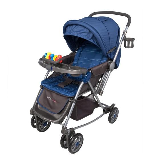 Coche Happy Baby Mecedora 7035 2 En 1 Lineas Azul