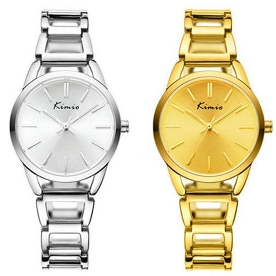 Relógio Feminino Casual Redondo Kimio 6105 Prata Dourado