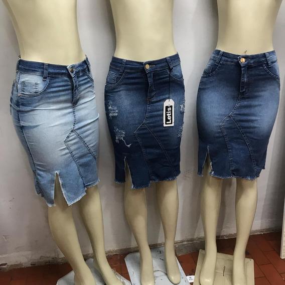 Leve 2 Saias Jeans Evangélica Com Fenda (com Elastano)