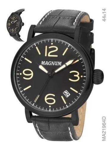 Relógio Masculino Magnum Couro Ma21964x + Brinde Novo