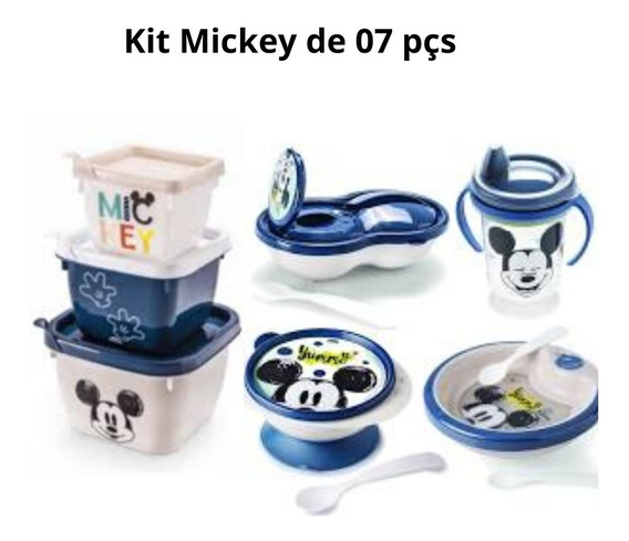 Kit 01copo+01tigela+01prato Térmico+01 Pote+03potes Mickey