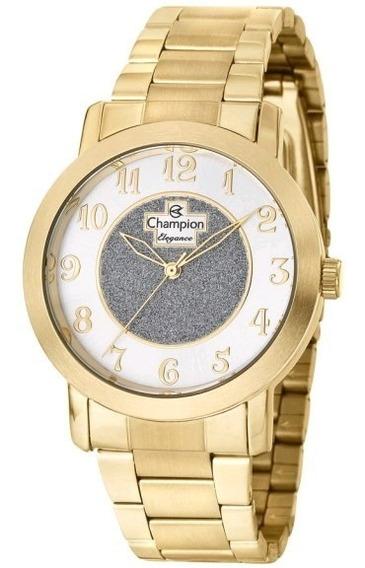 Relógio Feminino Dourado Champion Original Cod10