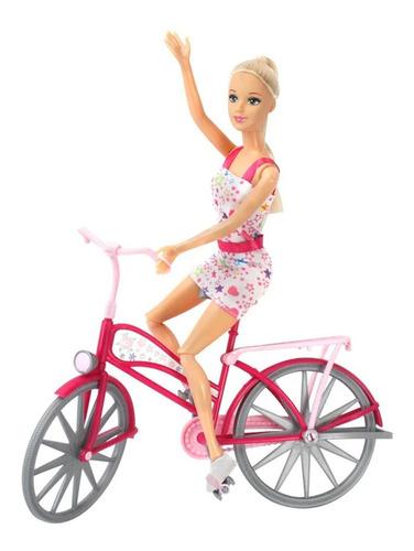 Imagen 1 de 6 de Muñeca Bicicleta Bonnie Pink Articulada Toy Cod B111 Bigshop
