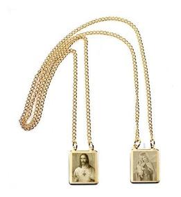 Escapulário Folheado Ouro Coração Jesus Nossa Senhora Carmo