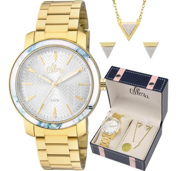 Relógio Allora Feminino Dourado Kit Semijóia Al2035fkf/k4a