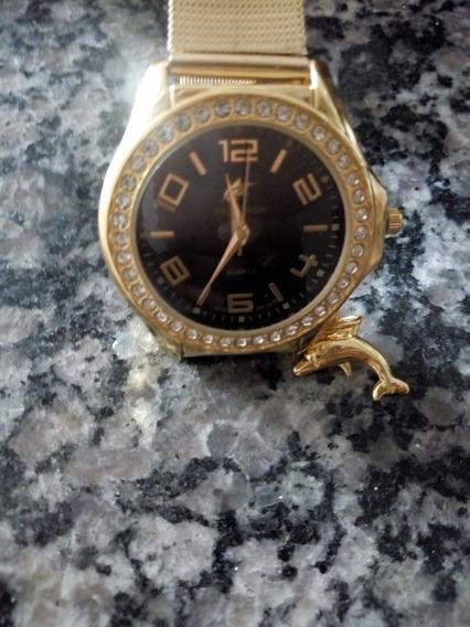 Relógio Dourado Com Pedrinhas