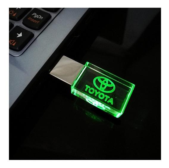 Pen Drive 32gb Cristal Led Toyota Verde - Promoção Relâmpago