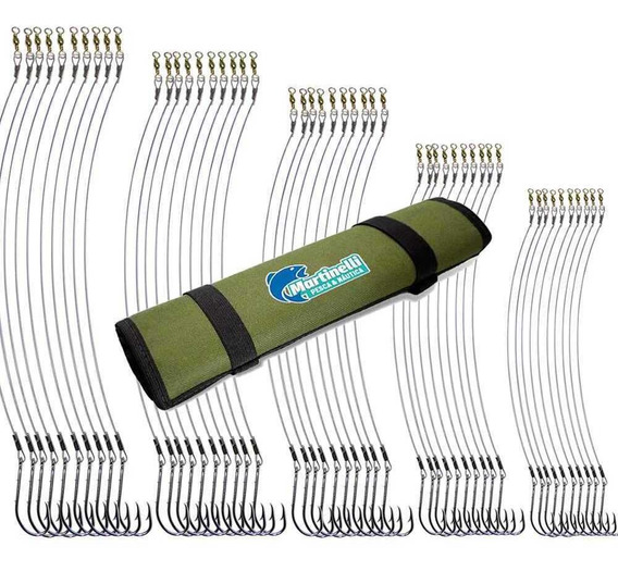 Anzol Encastoado Marine Sports 4330 C/ Aço Flex Kit C/ Total De 50 Anzóis N. 8/0 7/0 6/0 5/0 4/0 (10 Cada) + Porta Anzol
