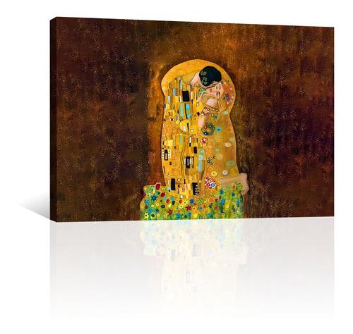 Imagen 1 de 10 de Cuadro Canvas Arte Pintura Impresa El Beso Por Gustav Klimt
