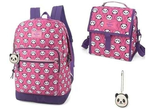 Kit Mochila +lancheira Panda Up4you Rosa-45579