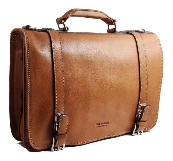 Maletin Portafolio Cuero Hombre Porta Notebook 15.6´ Tamaño Oficio 2 Divisiones Correa Ajustable Ejecutivo Modelo 0913