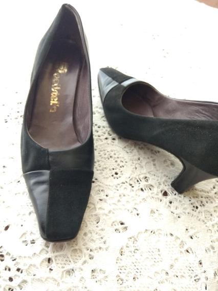 Zapatos Clasicos Combinados Cuero Y Gamuza Batistella