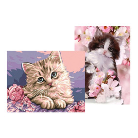 2 Pcs 5d Pintura Diamante Gato E Flor Fotografia Diy Artes P