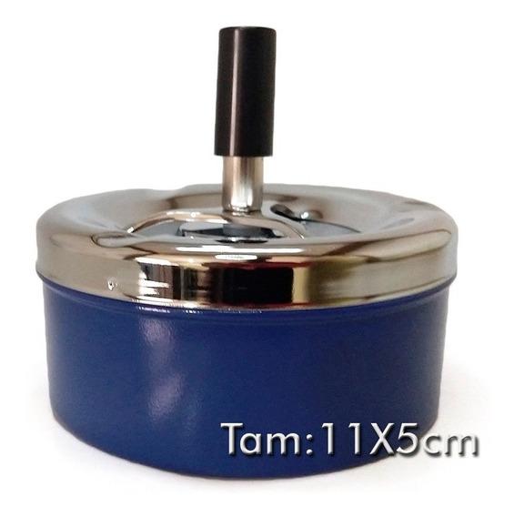 Cinzeiro De Mesa Em Metal 11x5 Cm - Azul