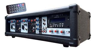 Consola Potenciada 4 Canal Usb/bt 2000w Mixer Amplificador