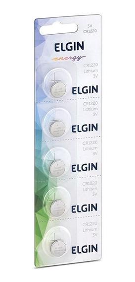 Cartela Com 5 Baterias De Lítio Moeda Elgin Cr 1220 82302