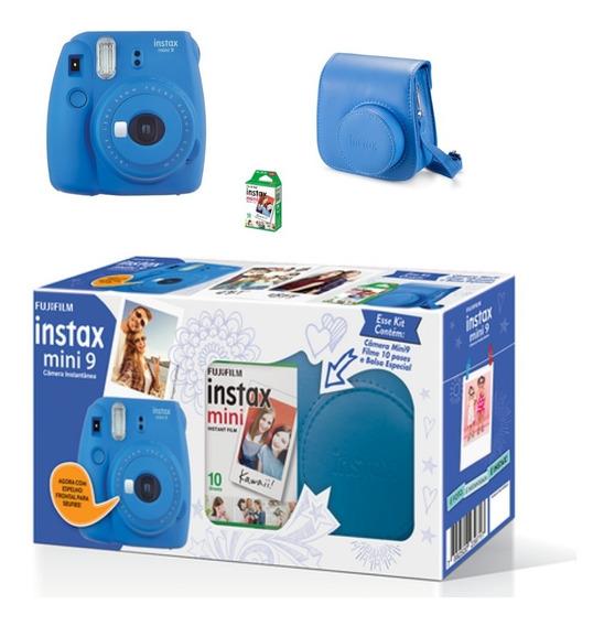 Kit Câmera Instax Mini 9 Azul Cobalto Bolsa Inclusa,10 Fotos