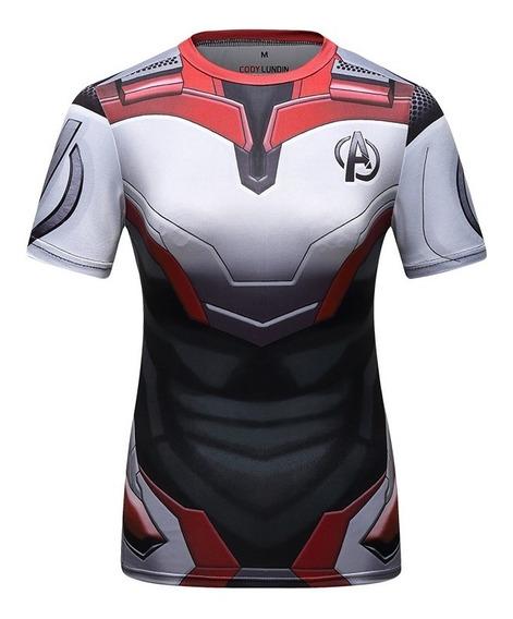 Camisa Compresion Marvel Avengers Endgame Uniforme Quantum Playera Blusa Mujer Manga Corta Licra Crossfit Gym Rashguard