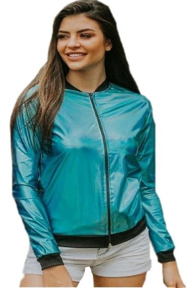 Jaqueta Blusa Casaco Bomber Metalizada Holográfica