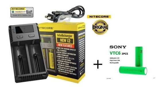 Carregador Niticore New I2 Vaper + 2 Baterias Sonyvtc6 18650