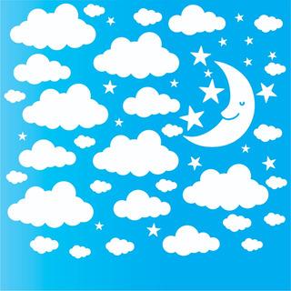 Adesivo Nuvens Grandes + Estrelas + Lua De Parede 30,20cm +