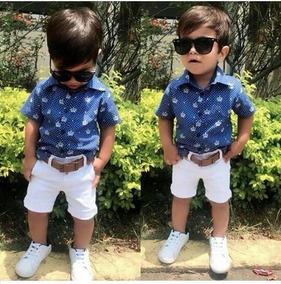 Conjunto Infantil Camisa Cavalinho+bermuda Jeans+cinto+frete