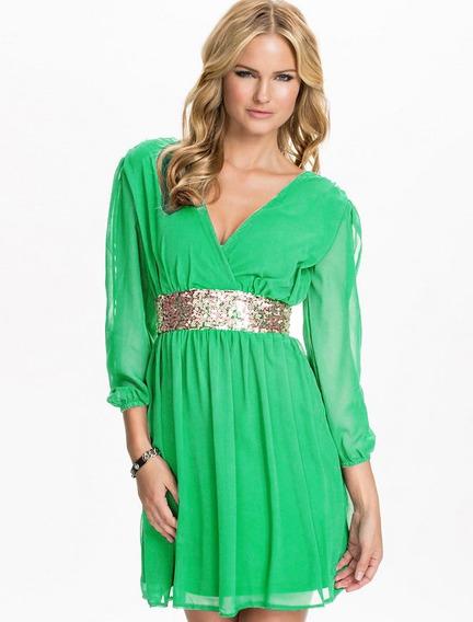 Vestido Gasa Y Lentejuelas Verde Con Dorado