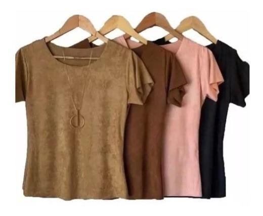 Kit 3 Blusinhas T-shirts Sued Moda Lançamento Outono-inverno