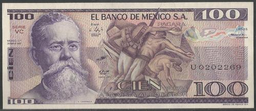 Imagen 1 de 2 de Mexico 100 Pesos 55 Marzo 1982 Serie Vc P74c