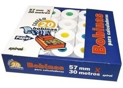 Bobina P/ Calculadora Mesa 57mm X 30m Caixa 20 Bobinas