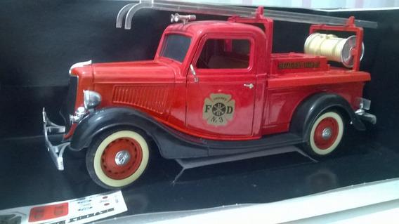 Miniatura 1/19 Solido Caminhão Bombeiros Ford 1936 Caixa