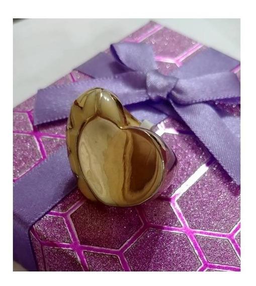 Anillo Grande De Corazón Acero Inox Dorado Con Esmalte # 6.5