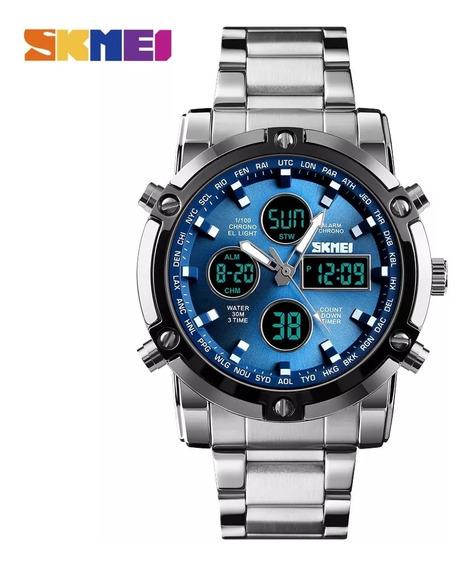 Relógio Masculino Skmei Platinum Silver\blue C\ Frete Grátis