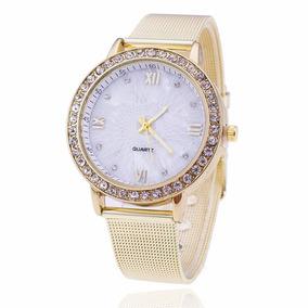 Relógio De Ouro Mulheres Rhinestone Watch Ladies