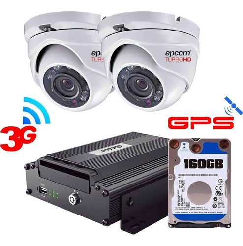 Kit Videovigilancia Movil 2 Cam Dvr Hd Epcom Xmr Gps 3g 250g