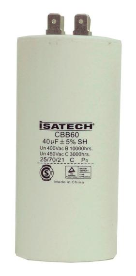 Capacitor De Marcha 40uf Microfaradios 400v 50/60hz Isatech