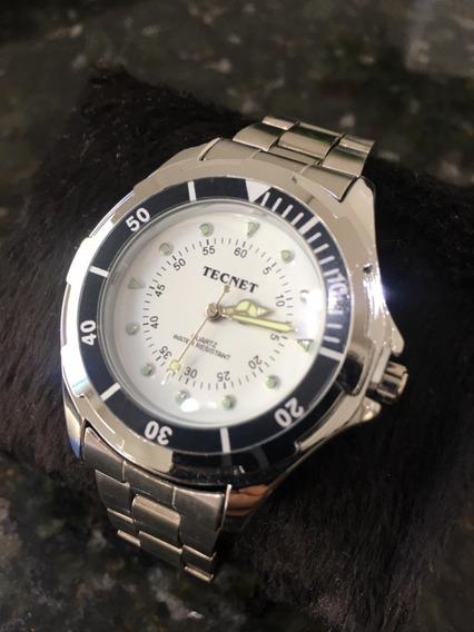 Relógio Tecnet Sky Diver Prata Masculino