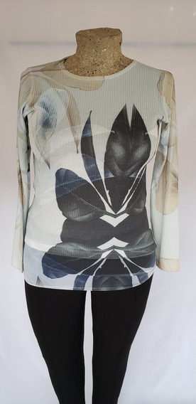 Sweater Color Natural Con Detalles De Hojas Pintadas T/44