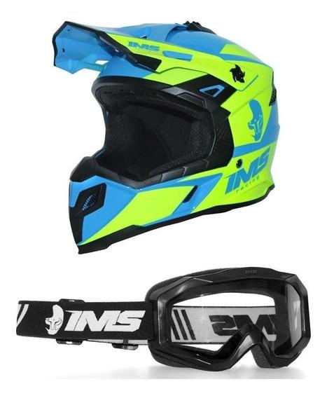 Capacete Enduro Ims Sprint Neon Azul Com Óculos Preto
