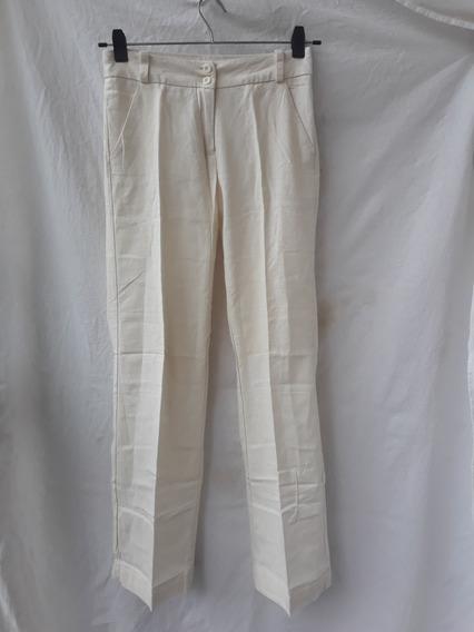 Pantalon Lino Mujer Talle 40 Marca Normandie Color Crudo
